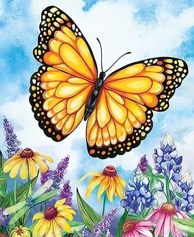Картина по номерам 20x30 Желтая бабочка над цветами